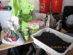 mixing up some soil